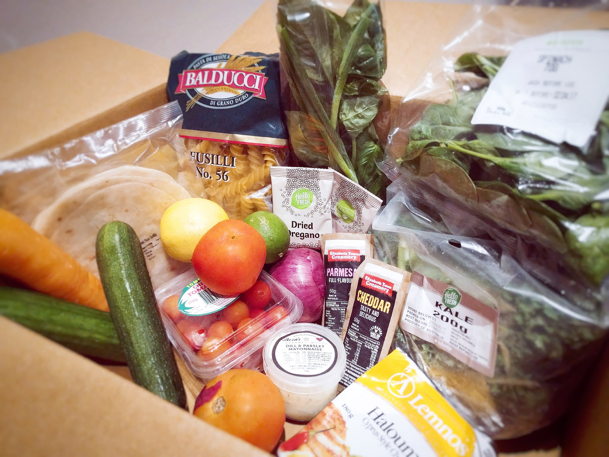 HelloFresh box of goodies