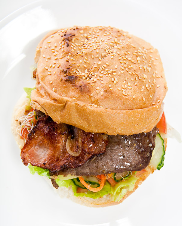 Steak burger with salad