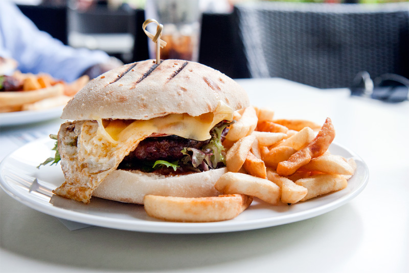 The Cav Burger and chips